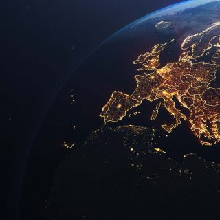 Europe from space at nightime
