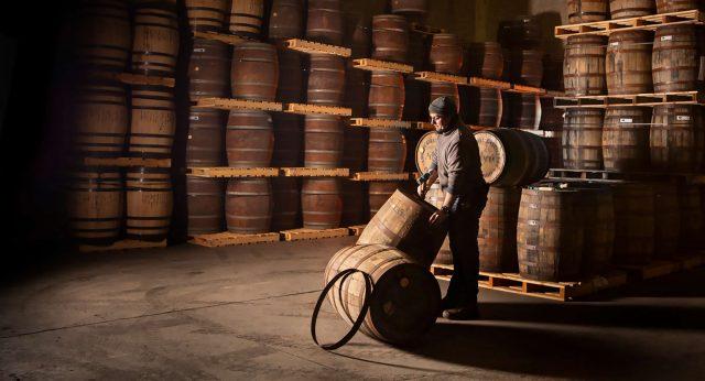 Inside Lough Gill Distillery, casks being examined
