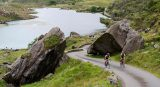Two cyclists along Moll's Gap in the Ring of Kerry